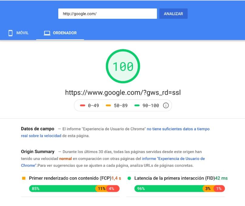 Vista de resultados PageSpeed Insights desktop