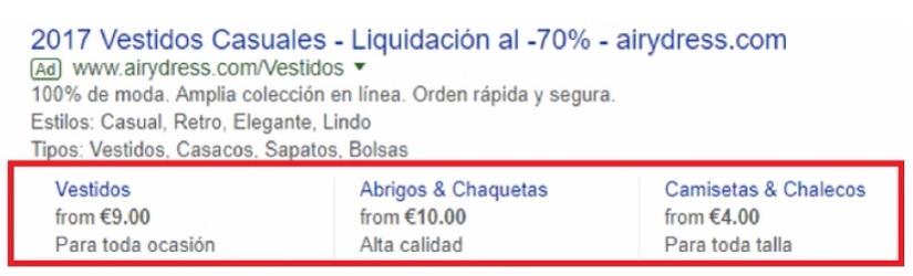 Extensiones de anuncio de precios