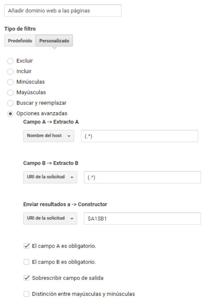 Añadir dominio web en los informes