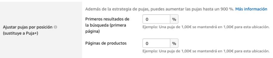 Ajustes de puja por posición en Amazon Ads