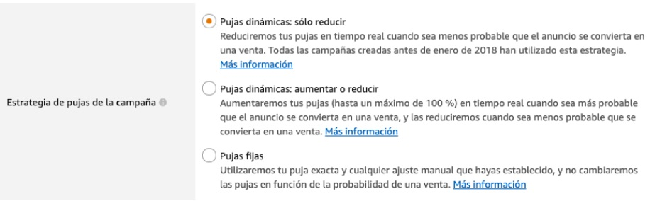 Estrategia de pujas de Amazon Ads