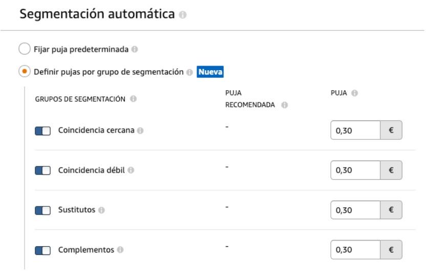 Segmentación automática en Amazon Ads