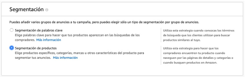 Segmentación de productos en Amazon Ads
