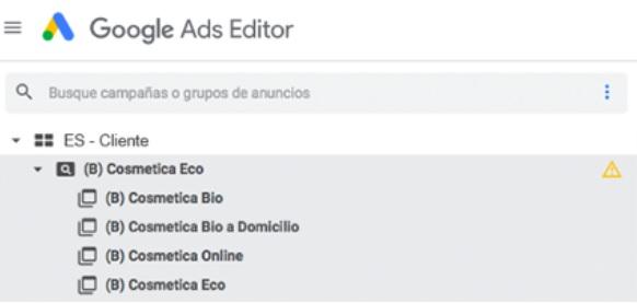 Grupos en Google Ads Editor