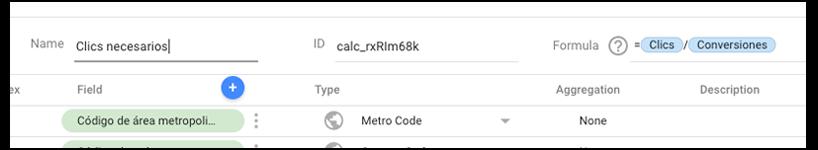 Métrica personalizada 2 Data Studio