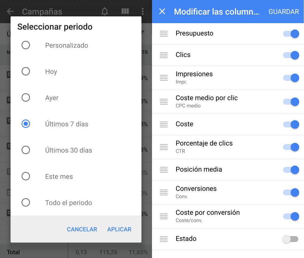 Modify period and columns in Google Adwords