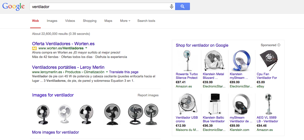 Shopping campaigns. Search results
