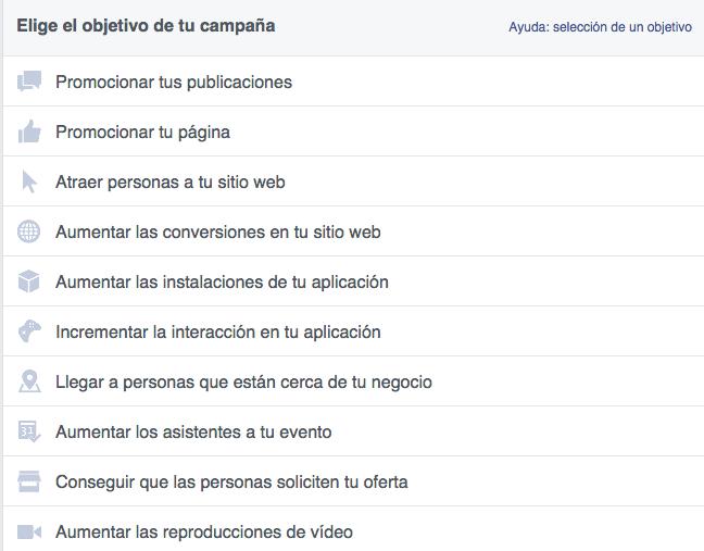 Campañas en Facebook - Lista de objetivos