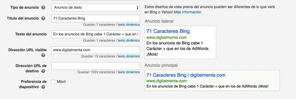 Bing Ads tekst