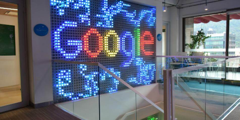 Google Colombia lichtgevende ingang