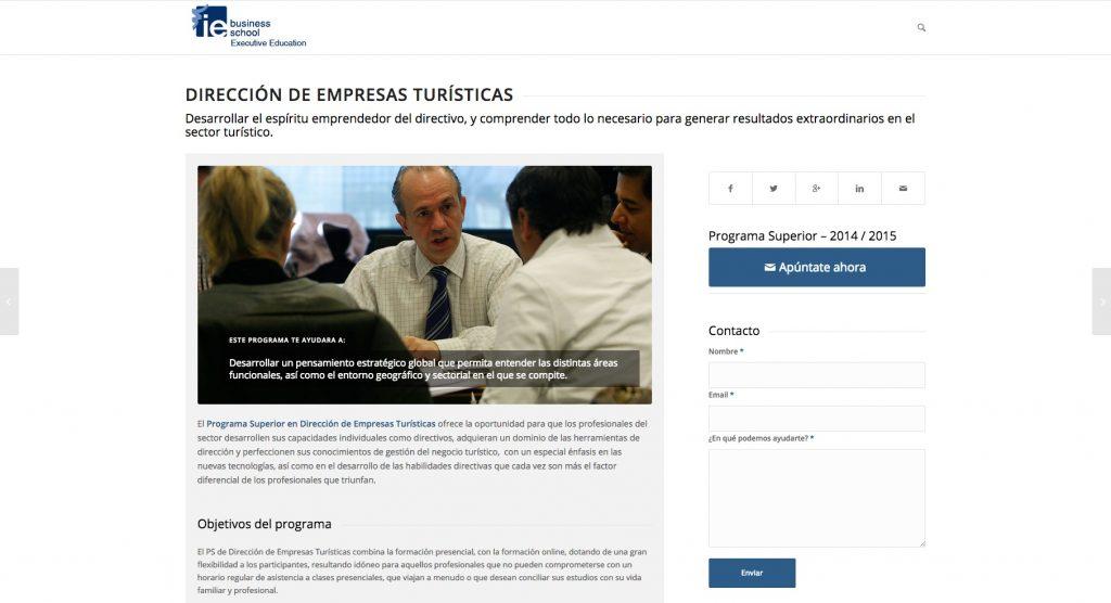 IE Business School-Micrositio como uno de los tipos de Landing Page