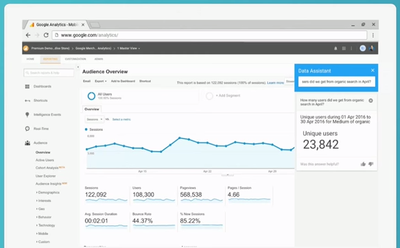 Give analytics instructions with Google Now.