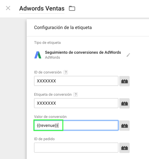 Adwords tag in Tag Manager
