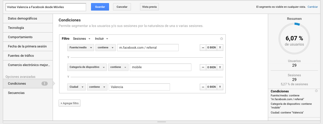 segmentos en google analytics