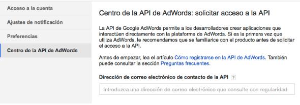 Solicitar acceso API AdWords