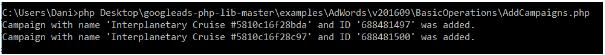 Voorbeeld van AdWords API