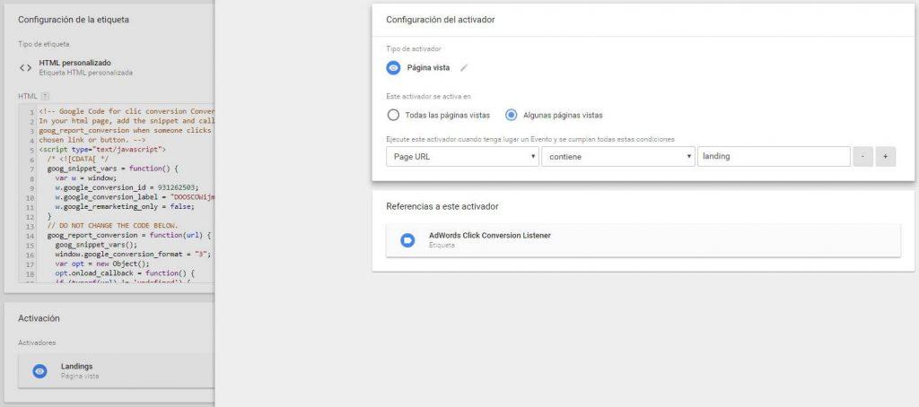 Etique conversie Klik met pageviews Activator