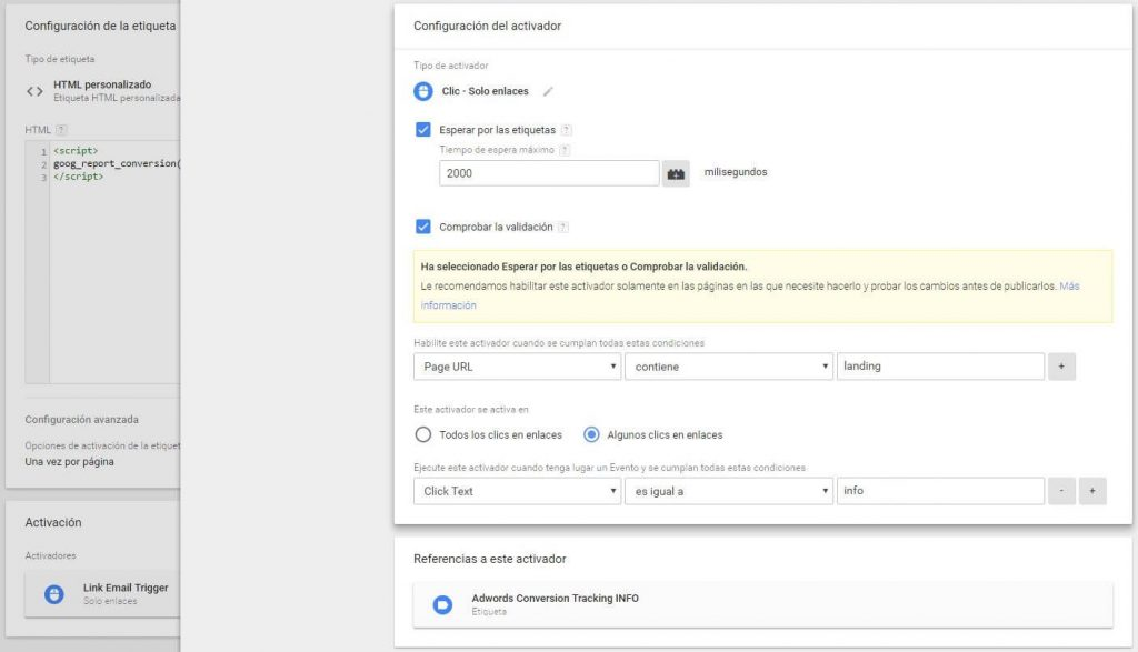 Tag met de Goog_report_conversion functie oproep en de klik Activator.