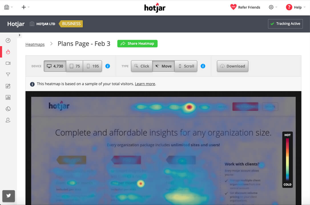 Example of a heat map in Hotjar
