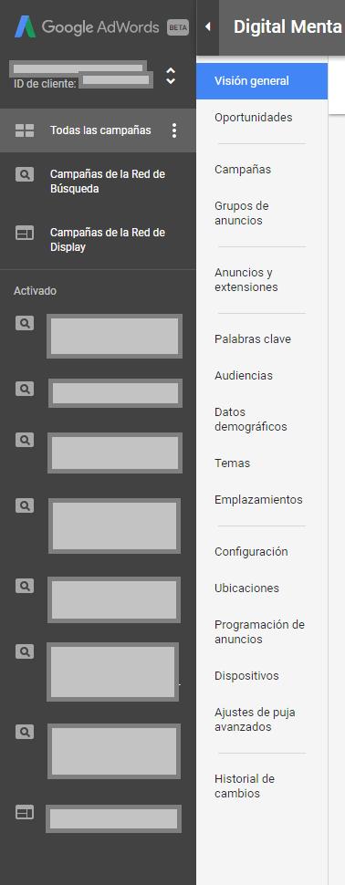 Nieuwe AdWords-interface Sidebar