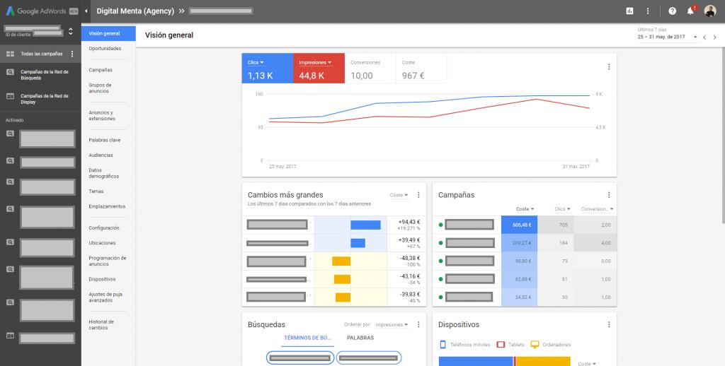 Nieuwe AdWords-algemene visie-interface