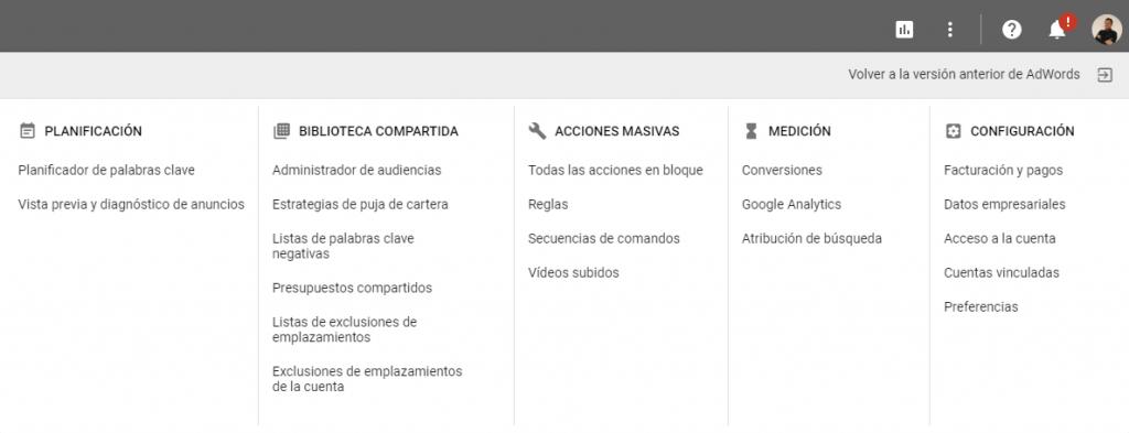 Nueva interface anwords menu terug naar boven