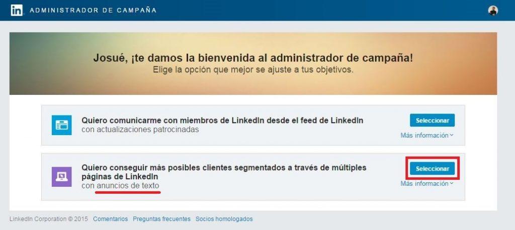 2 tipos de anuncios disponibles en LinkedIn