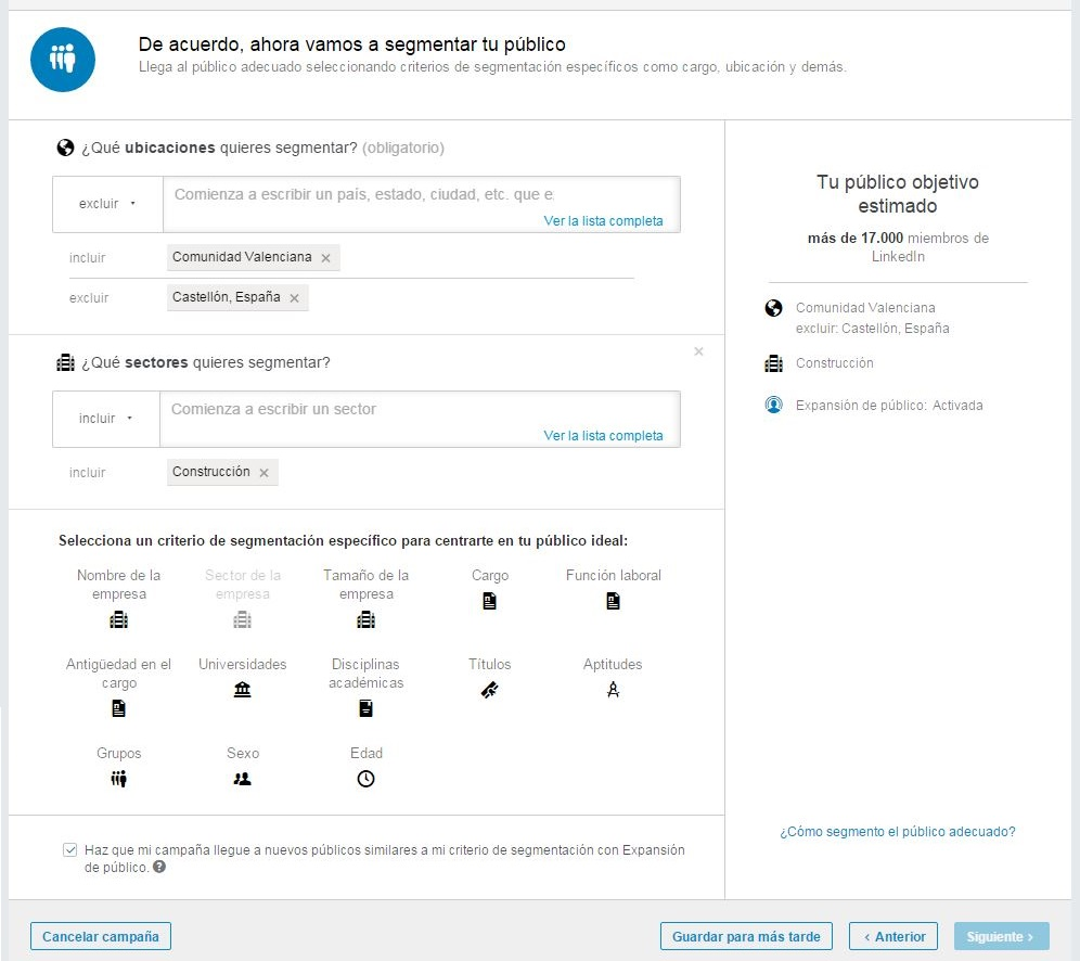 Paso 5: segmenta tu publicidad en LinkedIn