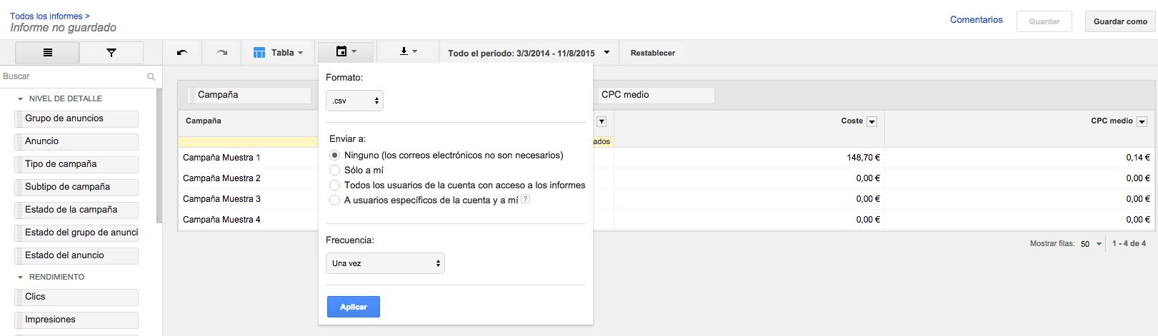 Downloaden in AdWords-rapport editor