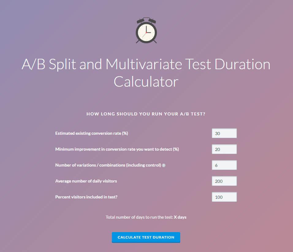 VWO AB Test calculator