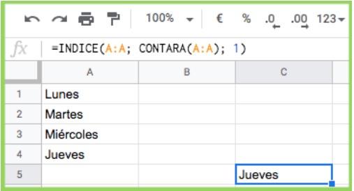 Combinatie van INDEX- en CONTARA-functie met bijgewerkte waarde