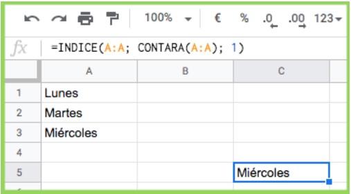 Combinatie van INDEX- en CONTARA-functie