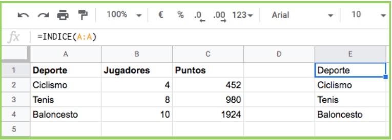 Google Sheets INDEX functie