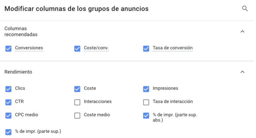 Modificar columnas de los grupos de anuncios