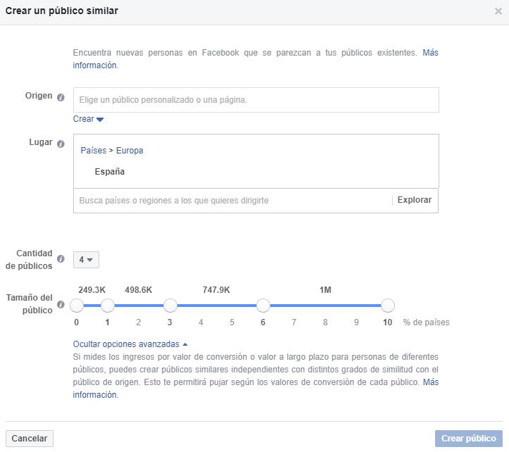 Vergelijkbare publiek uit Facebook Ads
