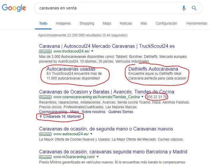 Extensiones de anuncio para campañas de búsqueda