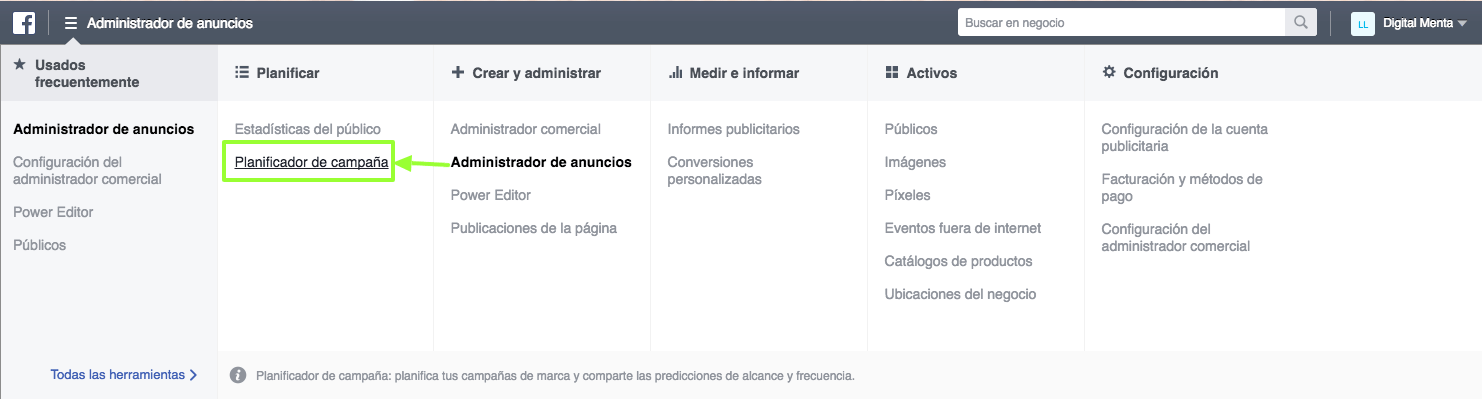 Planning campaigns in Facebook Planner