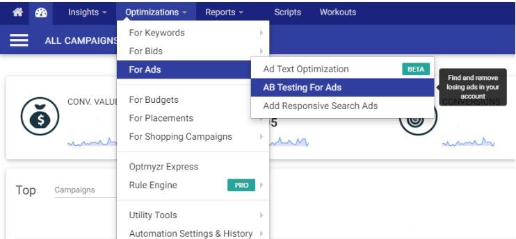 AB Testing for Ads es una función de